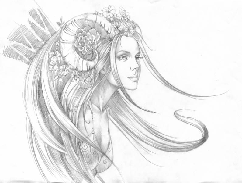 Dessins site officiel de sandrine gestin peintre de la f erie et de l 39 imaginaire - Dessin de fee en noir et blanc ...